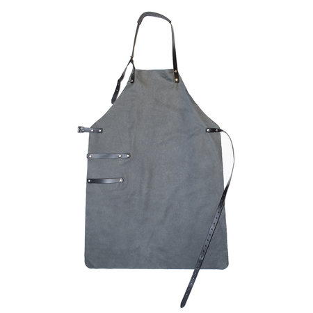 BBQ Apron Leather - Gray Leather Barbecue Apron For Ladies Or Men
