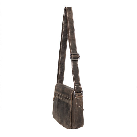 Shoulder Bag For Women With Flap Of Dark Brown Leather