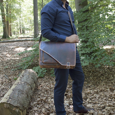 Messenger Tas - Laptoptas Van Lichtbruin Leer
