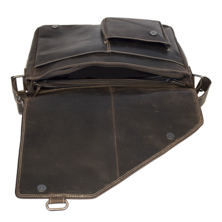 Donkerbruine Laptoptas - Messenger Tas Van Buffelleer