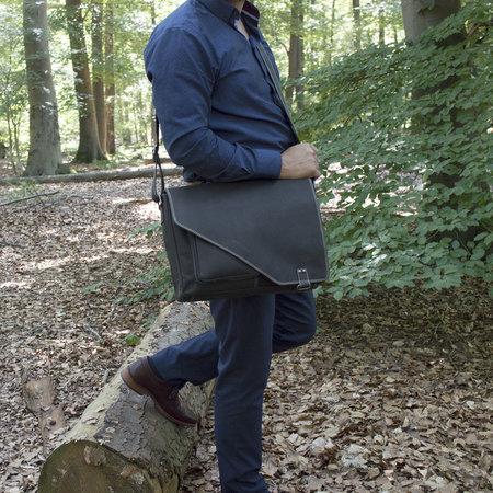 Zwart Leren Messenger Tas - Laptoptas