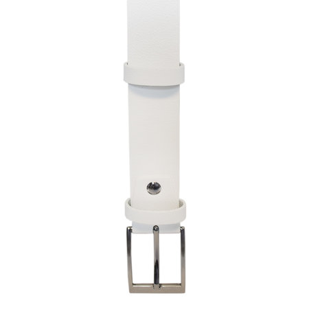 Riem Wit Leer Met Een Zilveren Gesp, 3.5 cm Breed
