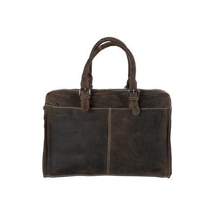 Donkerbruine Leren Messenger Bag Met Een Vak Voor Je Laptop