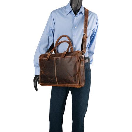 Cognac Leren Messenger Bag Met Een Vak Voor Je Laptop