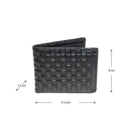 Zwarte Heren Portemonnee Met Een Gevlochten Leer Print