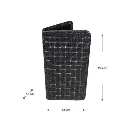 Zwart Leren Telefoonhoesje Met Een Gevlochten Leer Print