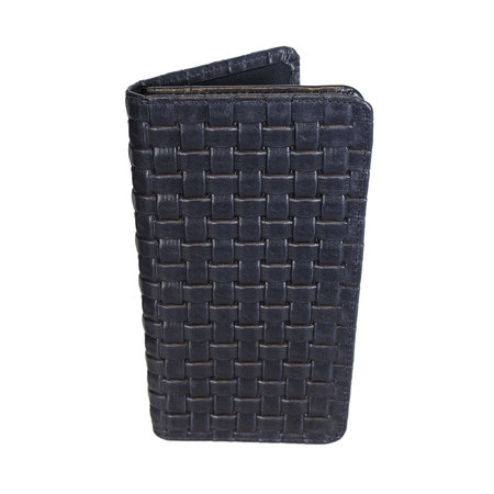 Donkerblauw Leren Telefoonhoesje Met Een Gevlochten Leer Print