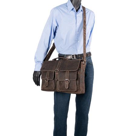 Messenger Bag Van Donkerbruin Leer Met Klep En Gespen