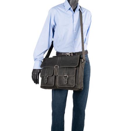 Messenger Bag Van Zwart Leer Met Klep En Gespen