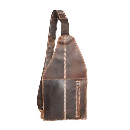 Crossbody tas van leer in de kleur cognac/naturel