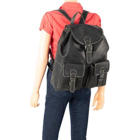 Black Leather Backpack - Large Model Backpack