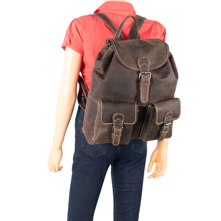 Leather Backpack Made Of Dark Brown Buffalo Leather