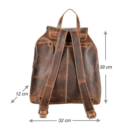 Spacious Backpack In Light Brown Buffalo Leather