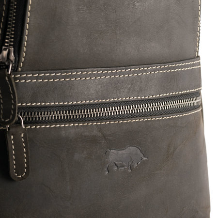 Black Leather Backpack With 4 Compartments And A Zipper