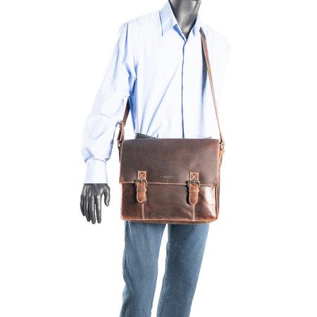 Messenger Bag - Schoudertas Van Lichtbruin Leer