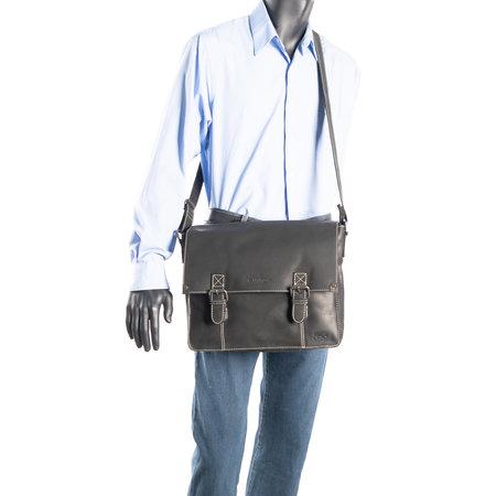Zwart Leren Messenger Tas Met Een Grote Klep