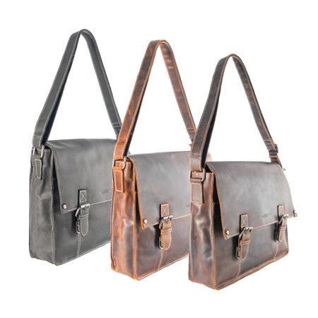 Messenger Bag Met Klep Van Donkerbruin Buffelleer