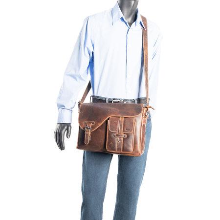 Messenger Bag - Schoudertas Van Lichtbruin Buffelleer