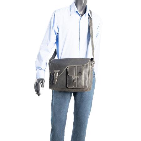 Zwarte Messenger Bag - Schoudertas Van Buffelleer