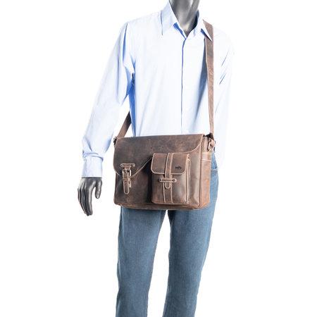 Messenger Bag - Schoudertas Van Donkerbruin Buffelleer