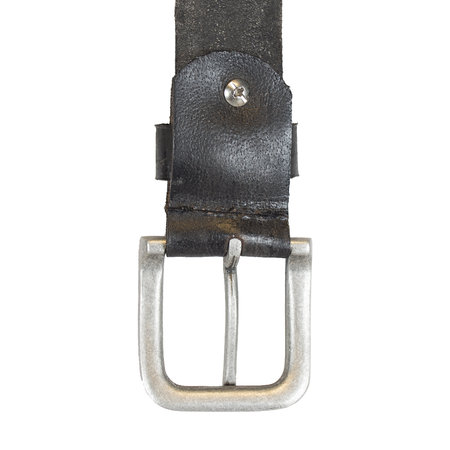 Donkergrijze Riem Gemaakt Van Echt Leer - 3.5 cm Breed