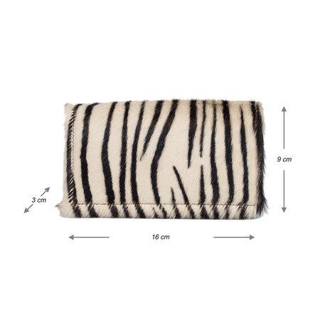 Dames Portemonnee Bruin Leer Met Een Zebraprint