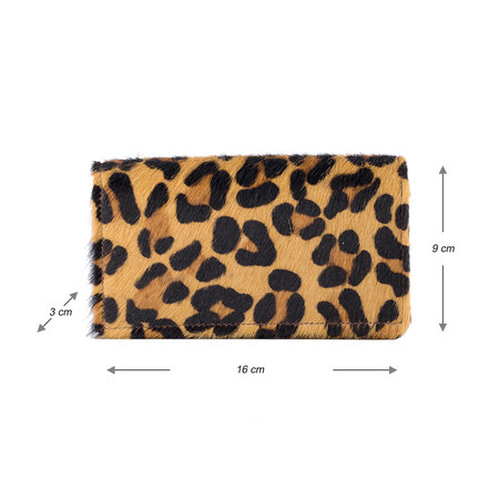 Dames Portemonnee Bruin Leer Met Een Jaguar Print