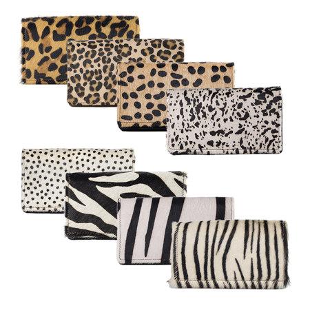 Leren Dames Portemonnee Met Een Witte Cheetah Print