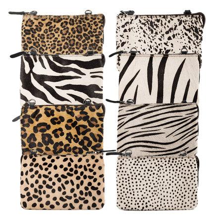 Dames Schoudertasje Buffelleer Met Een Witte Cheetah Print