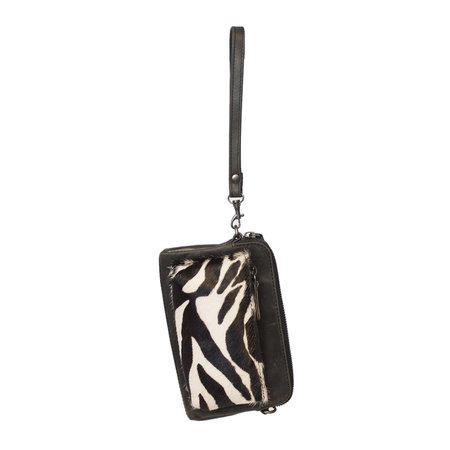 Crossbody Tasje Van Zwart Leer Met Een Zebra Print