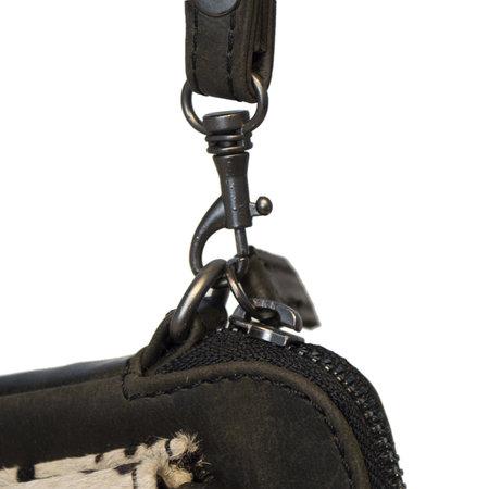 Crossbody Tasje Van Zwart Leer Met Een Jaguar Print