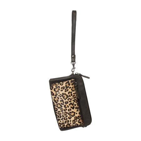 Crossbody Tasje Met Een Jaguar Print Van Zwart Leer
