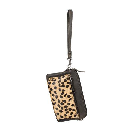 Crossbody Tasje Met Een Cheetah Print Van Zwart Leer