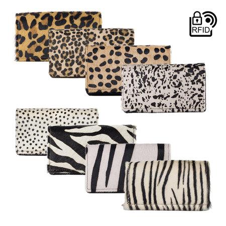 Dames Portemonnee Van Zwart Leer Met Een Zebra Print