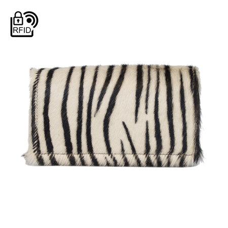 Dames Portemonnee Van Leer Met Een Zebra Print