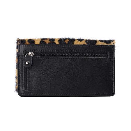 Dames Portemonnee Van Zwart Leer Met Een Jaguar Print