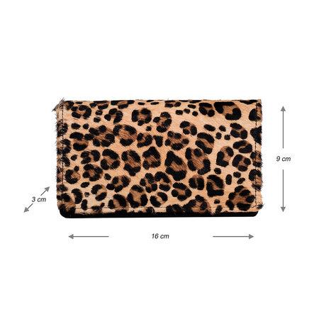 Dames Portemonnee Van Zwart Leer Met Een Luipaard Print