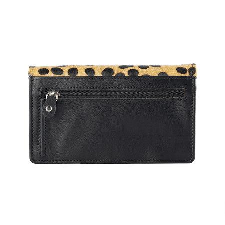 Dames Portemonnee Van Zwart Leer Met Een Cheetah Print