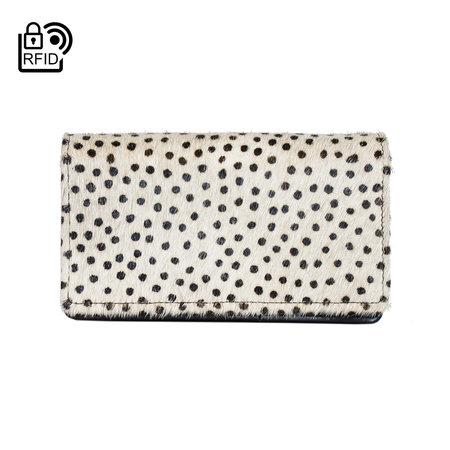 Bruin Leren Dames Portemonnee Met Een Witte Cheetah Print