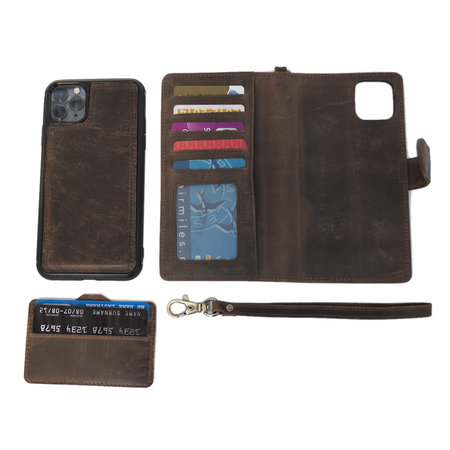 Apple iPhone SE Bookcase Hoesje Donkerbruin Leer