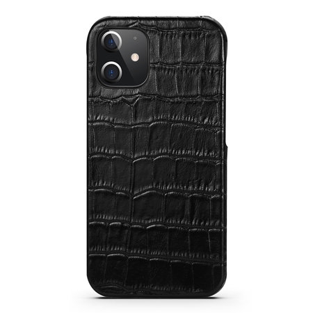 iPhone 12 Pro Case Made of Black Leather With Croco Print