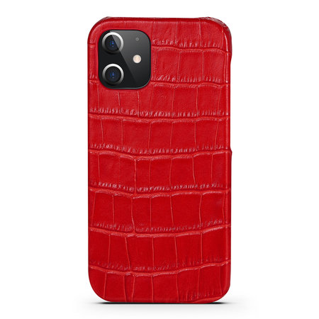 iPhone 12 Pro Case Made of Red Leather With Croco Print