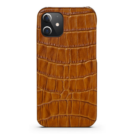 iPhone 12 Pro Case Made of Light Brown Leather With Croco Print