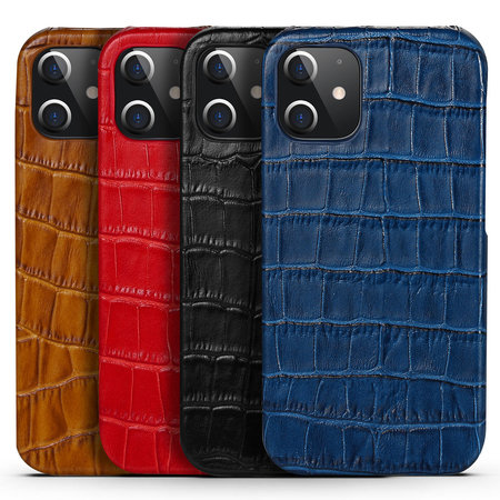 iPhone 12 Pro Max Case Made of Blue Leather With Croco Print
