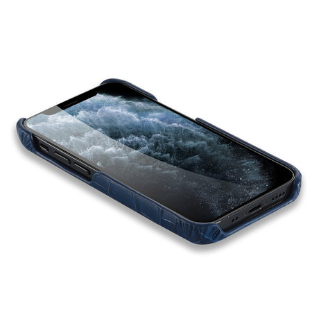 iPhone 12 Mini Case Made of Blue Leather With Croco Print