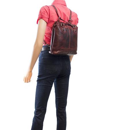 Ladies Backpack Crossbody Bag Shoulder Bag Of Red Leather