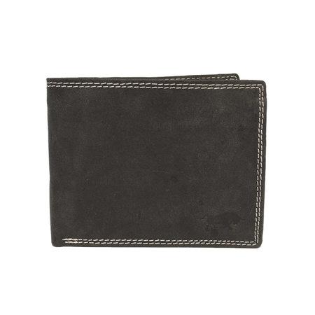 Heren Billfold Portemonnee Van Zwart Buffelleer