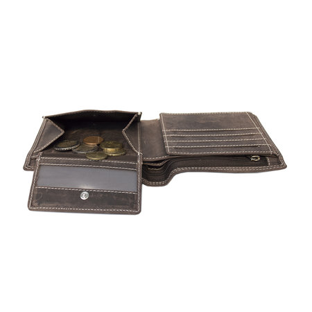 Heren Portemonnee Met RFID Van Donkerbruin Buffelleer