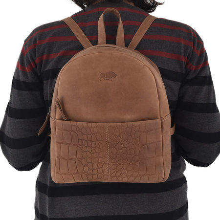 Ladies Backpack Of Brown Leather With A Croc Print