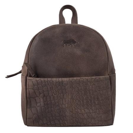 Ladies Backpack Of Dark Brown Leather With A Croc Print
